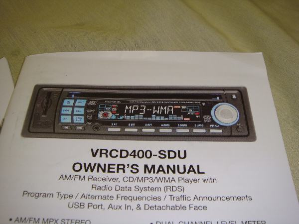 vr vrcd sdu car stereo cd wma mp usb aux in player look this is a newly refurbished unit that is in like new condition and comes new remote wiring harness and manual don t miss out on your chance to ave