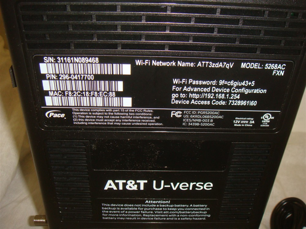 Details about AT&T U-VERSE WI-FI HIGH SPEED DSL MODEM ROUTER PACE GATEWAY  MODEL 5268AC #1